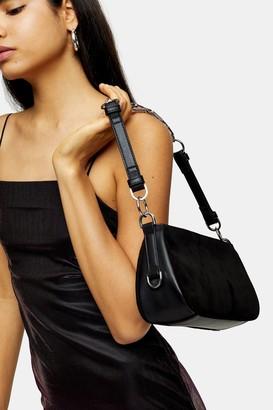 Topshop Womens Whirl Black Shoulder Bag With Leather - Black