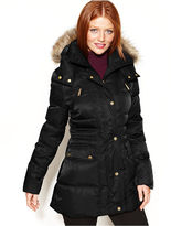 Kenneth Cole Reaction Kenneth Cole Hooded Faux-Fur-Trim Quilted Puffer Coat