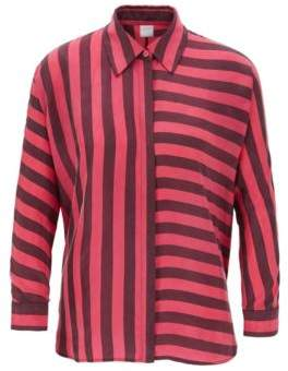 BOSS Relaxed-fit blouse with multi-directional stripe