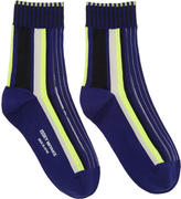 Issey Miyake Navy Lined Striped Socks