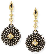 Armenta Old World Midnight Small Shield Earrings with Champagne Diamonds