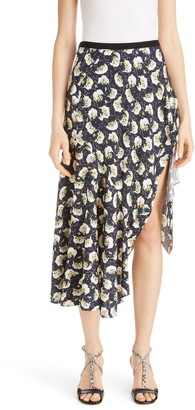 Chloé Asymmetrical Floral Print Stretch Silk Midi Skirt