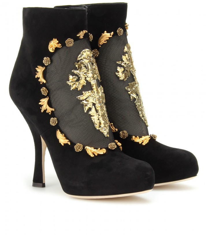 Dolce & Gabbana SUEDE ANKLE BOOTS WITH METALLIC EMBROIDERED CUT-OUT MESH TRIM