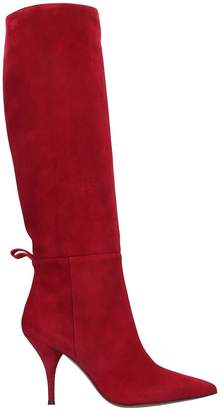 L'Autre Chose High Heels Boots In Red Suede
