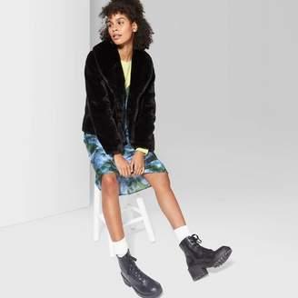 Wild Fable Women's Long Sleeve Short Faux Fur Coat - Wild FableTM Black