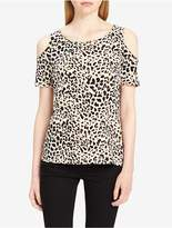 Calvin Klein Animal Print Cold Shoulder Top