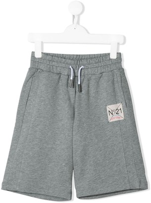 No21 Kids Logo Patch Drawstring Shorts