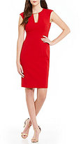 Calvin Klein Petite Cap Sleeve Split Neck Sheath Dress