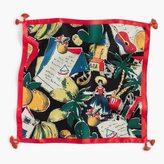 J.Crew Italian silk square scarf in postcard print