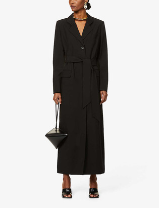 LA COLLECTION Single-breasted belted wool-blend maxi dress