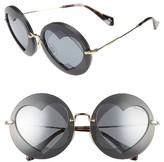 Miu Miu Women's 62Mm Layered Heart Round Sunglasses - Grey Mirror