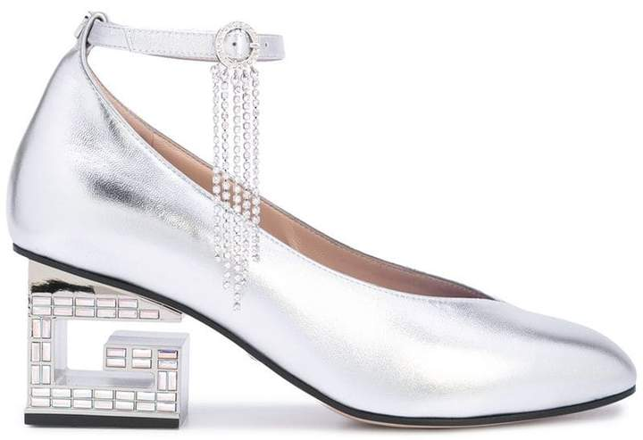 e6a7c3e442d Silver Block Heel Shoe - ShopStyle