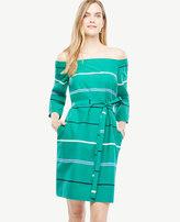 Ann Taylor Off The Shoulder Striped Poplin Dress