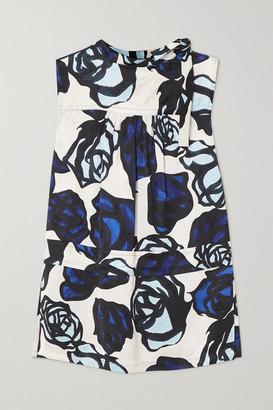Marni Tie-detailed Floral-print Satin-jacquard Blouse - Blue