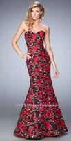 La Femme Floral Mermaid Lace Prom Dress