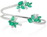 Hueb Mirage 18K White Gold Diamond and Emerald Cuff