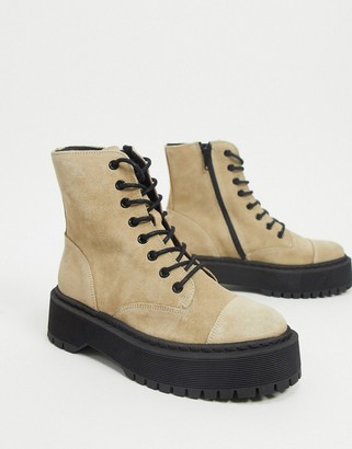 Vero Moda leather chunky sole lace up boots in tan