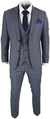 Paul Andrew Mens 3 Piece Tailored Fit Prince of Wales Check Grey Blue Tweed Suit Vintage Retro