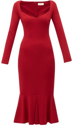 Sara Battaglia Pleated-hem Jersey Dress - Red
