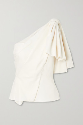Roland Mouret Toulon One-shoulder Bow-detailed Gathered Crepe Top - White