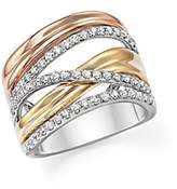 Bloomingdale's Diamond Crossover Ring in 14K White, Yellow and Rose Gold, .65 ct. t.w. - 100% Exclusive