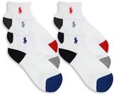 Ralph Lauren Boys' Athletic Quarter Socks, 6 Pack - Sizes 8-11
