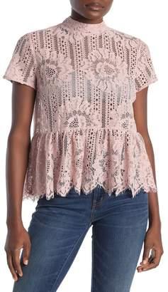 Everleigh Crochet Lace Peplem Hem Blouse