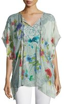 Johnny Was Floral-Print Tie-Neck Poncho, Plus Size