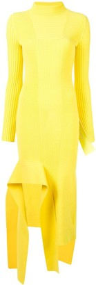 Off-White Ribbed Asymmetric Long Dress
