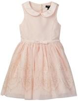Zunie Glitter Skirt Peter Pan Collar Dress (Toddler & Little Girls)