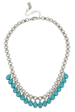 Kenneth Cole New York Silver-Tone Cabochon Shaky Frontal Necklace