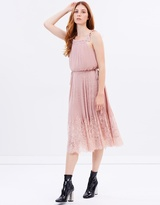 Whistles Lilian Pleated Lace Mix Dress