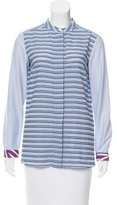 Jil Sander Navy Striped Button-Up Top w/ Tags