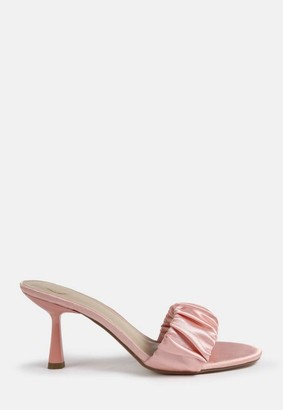 Missguided Satin Ruched Heeled Mule Sandals