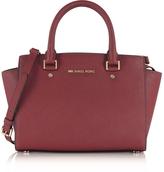 Michael Kors Selma Medium Mulberry Saffiano Leather Top-Zip Satchel Bag