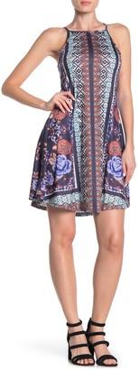 Angie Square Neck Geometric Floral Print Swing Dress