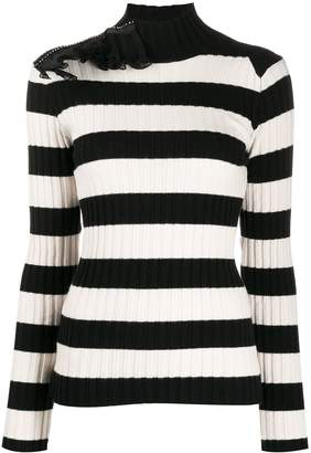 Gina striped ruffle-embellished jumper