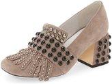 XYD Women Chic Block Low Heels Slip-On Party Round-Toe Fringe Pumps Size 12