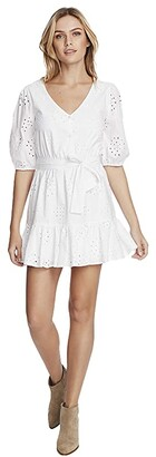 1 STATE 1.STATE Cotton Eyelet Button Front Tie Waist Dress (Ultra White) Women's Clothing