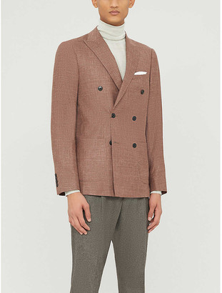 Reiss Recline wool, silk and linen-blend double-breasted jacket