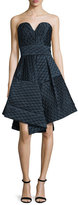 Milly Brocade A-Line Sweetheart Dress, Navy