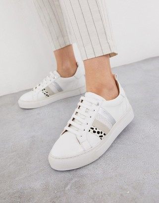 Dune elate flatform lace up trianers in white with stripes