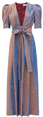Françoise Francoise - Plunge-neckline Shot-lame Maxi Dress - Blue Multi