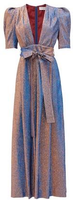 Françoise Francoise - Plunge-neckline Shot-lame Maxi Dress - Womens - Blue Multi