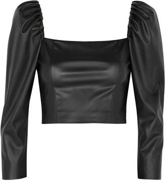 Alice + Olivia Francesca Black Faux Leather Top