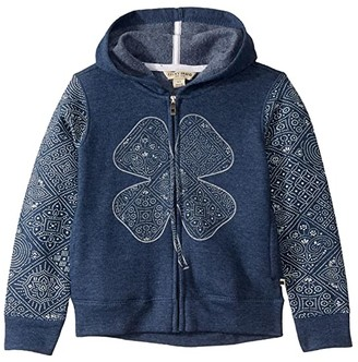 Lucky Brand Kids Jayden Full Zipper Hoodie (Little Kids) (Indigo Heather) Girl's Clothing