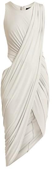 Balmain Cutout Draped Jersey Midi Dress