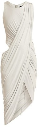Balmain Cutout Draped Jersey Midi Dress