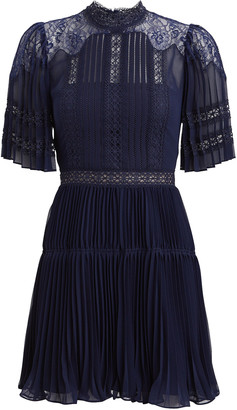 Self-Portrait Lace-Trimmed Pleated Chiffon Dress