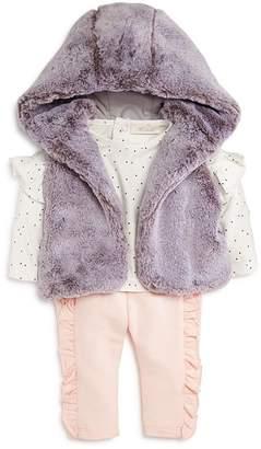 Miniclasix Girls' Faux Fur Vest, Polka Dot Top & Leggings Set - Baby